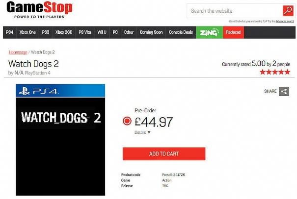Watch Dogs 2 in pre-order su GameStop UK